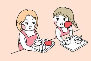 De volta às meninas da escola na cantina tomando café da manhã