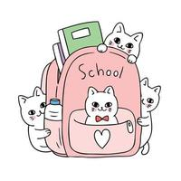 Cartoon cute back to school cat in bag vector.