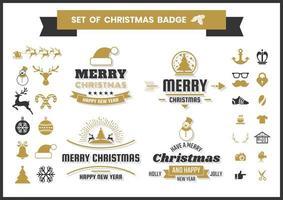 Retro Weihnachtsabzeichen gesetzt