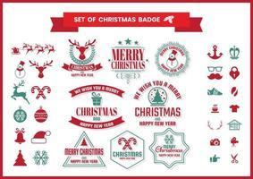Retro Christmas badge set