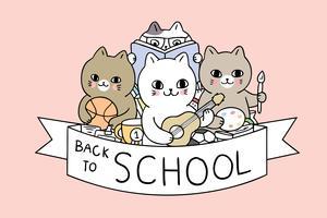 Fumetto sveglio di nuovo al vettore dei gatti di scuola.
