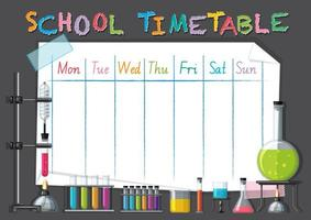 School tijdschema sjabloon met wetenschap thema