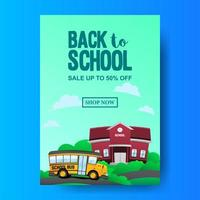 A4 back to school sale offer promotion with bus school and building landscape
