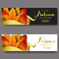Feuilles d'automne chute avec modèle de bannière offre bannière or vente bannière ruban avec fond noir et blanc et texte d'or