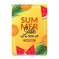 Summer holiday sale offer discount poster banner template tropical fruit from top view