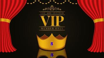 VIP invitation with 3D golden crown and red curtain and carpet