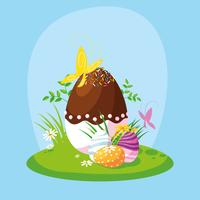 ensemble d'oeufs de Pâques dans le jardin