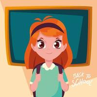 Retour à l'école fille avec sac à dos