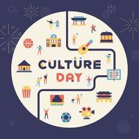 Culture day building and culture icons vector