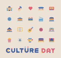Conjunto de ícones de cultura vetor