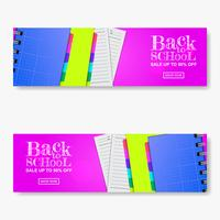 Set back to school sale off banner with stationary