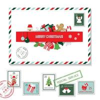 Christmas envelope and postal stamps set