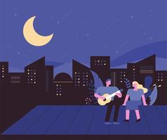 City night with a man playing guitar to his girlfriend on the roof
