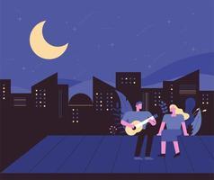Stadsnacht met een man die gitaar speelt tegen zijn vriendin op het dak
