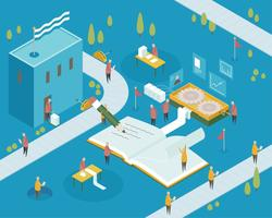 Isometric view of little people in a book factory