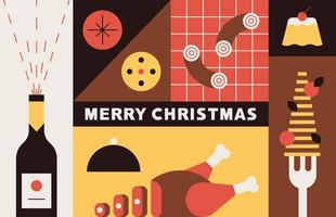 Christmas food in square sections vector