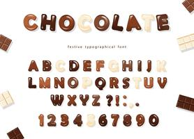 Letras e números de chocolate brilhante