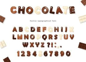 Letras y números de chocolate brillante