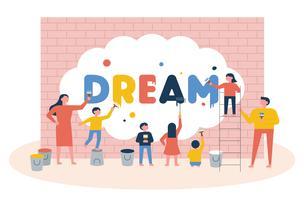 Barn som målar ordet Dröm på en vägg