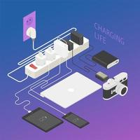 Charging various electronic products. Isometric design. vector