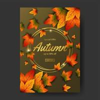 Autumn fall leaves sale offer poster promotion event template with gold circle