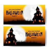 Halloween party banner template with scary castle with moonlight