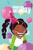tarjeta de cumpleaños con niña celebrando