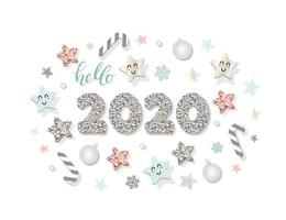 2020 New year template vector