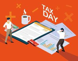 businessmen filing taxes  vector