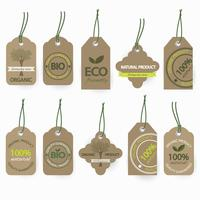 Natural bio organic cardboard labels set