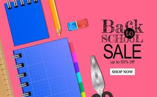 Welcome back to school sale banner template with stationary on pink background