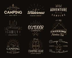 Camping emblems and travel insignia. Vintage colors, old style design.