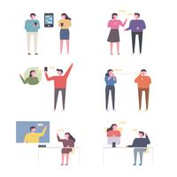 Set of people communicating in various ways