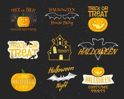 Uppsättning av Happy Happy Halloween-märken, etiketter, logotyper.