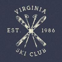 Vintage Winter Sports Ski Club Label vector