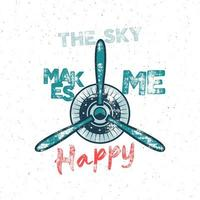 Airplane tee design in vintage style with propeller and vintage typography vector