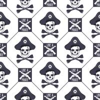 Vector seamless pattern with skulls, old pistols and bones