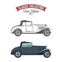 Retro car icons, symbols in flat color and monochrome style