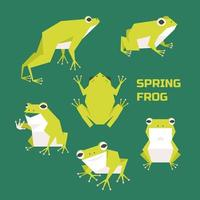 A cute frog character in various postures.