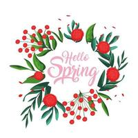 hello spring card with flowers