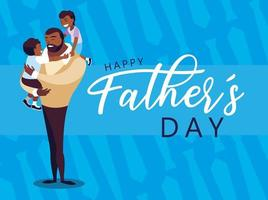 happy father day card with children