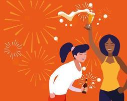 mujeres felizmente celebrando