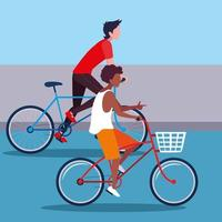 young men riding bikes  vector
