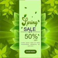Green Spring Sale Banner with Leaves vector