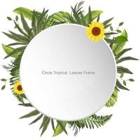Circle Tropical Leaves and Flowers Frame