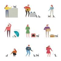 Set of people to taking care of stray cats vector