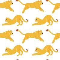 Vector hand drawn flat seamless pattern with lions