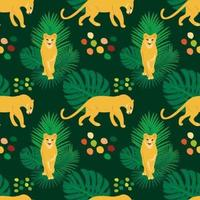 Vector hand drawn flat seamless pattern with lions and plants
