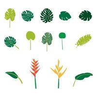 Hand drawn flat tropical plants set