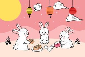 Cute mid autumn rabbit and moon having tea